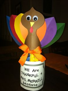 Thankful Turkey Teacher Gift. Super simple with a huge impact! I had each of the students in my daughter's class write down a reason they were Thankful for their teacher and then I scrolled them up small enough to fit inside this mason jar I decorated to look like a turkey! This is definitely one of my favorite teacher gifts I have made so far. My daughter's teacher really appreciated this little gift from her class!