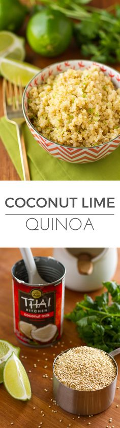 Coconut Lime Quinoa -- 3 ingredients and insanely easy prep (use your rice cooker!) make this delicious quinoa recipe a go-to weeknight side dish. Total winner! | via @unsophisticook on unsophisticook.com  didn't love the coconut milk flavor