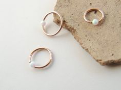 Rose Gold Cartilage Hoop, White Fire Opal Beaded Cartilage Hoop Earring, Tragus Rook Helix Cartilage Earring, CBR Captive Bead Ring. 1063