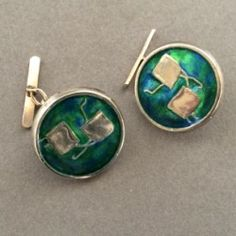 Gallery 925 - English Cuff Links by Cymric Designed by Archibald Knox With Green Enamel.  Handmade Sterling Silver.