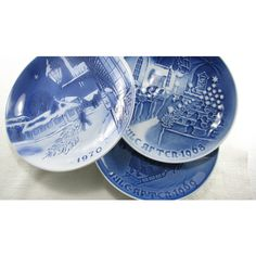 Danish Blue Porcelain Plate Collection, Bing And Grondahl Christmas... ($28) ❤ liked on Polyvore featuring home, home decor, porcelain plates, blue plate, blue porcelain plates, blue home accessories and blue home decor