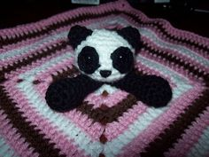 Ravelry: Panda Bear Lovey pattern by Sarah Wesemann Crochet Panda, Crochet Amigurumi, Crochet Bear, Crochet Animals, Crochet For Kids, Crochet Dolls, Crotchet, Crochet Security Blanket, Lovey Blanket