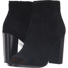 Frye Gabby Peep Toe Bootie (Black Suede) Women's Boots (43.180 HUF) found on Polyvore featuring women's fashion, shoes, boots, ankle booties, ankle boots, black, short black boots, black suede ankle booties, black bootie and black peep toe booties