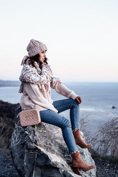 VINCE Crew neck sweater, FREE PEOPLE Bundle Baby chunky cowl, FREE PEOPLE Back to Basics knit beanie, 7 FOR ALL MANKIND jeans, ALEXANDER WANG Gia boots, CHANEL Vanity case in grained calfskin
