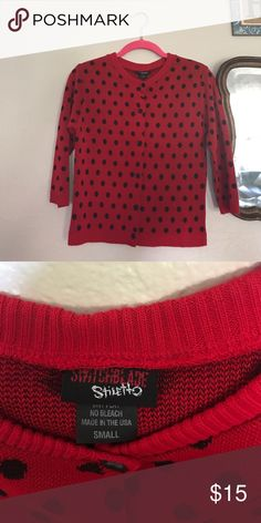 Rockabilly vintage style polka dot sweater Switchblade red and black polka dotted button down cardigan switchblade Sweaters Cardigans