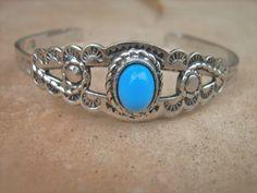 Turquoise Sterling silver cuff bracelet signed ESPO #ESPO