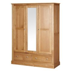 Oslo Oak Triple Wardrobe with Mirror (L235) with Free Delivery   The Cotswold Company