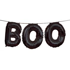 """Boo Letter Balloon Banner   Hobbycraft   Perfect for making your party décor stand out this Halloween, the Boo Letter Balloon Banner will add a fun detail to your haunted house. The cool balloon bunting has a black foil design, with three individual balloons hanging from black ribbon to spell out """"Boo"""" – a simple, effective greeting for your Halloween celebrations."""