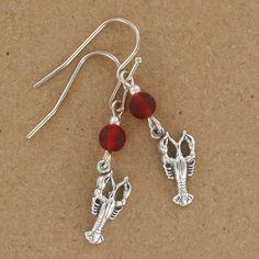 Sadie Green's Red Sea Glass Lobster Earrings