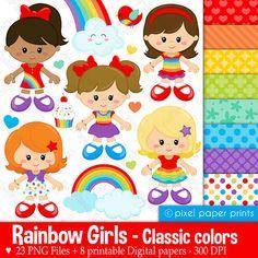Rainbow+girls++Classic+colors++Clipart+and+door+pixelpaperprints