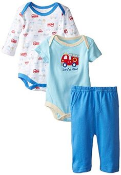 BON BEBE Baby-Boys Newborn Let's Go Double Bodysuit Set with Pants, Multi, 0-3 Months - Brought to you by Avarsha.com