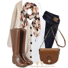 Oversized cardigan, Floral scarf & Boots by steffiestaffie on Polyvore featuring moda, Aerie, American Eagle Outfitters, UGG Australia, Mulberry, Tiffany & Co. and H&M