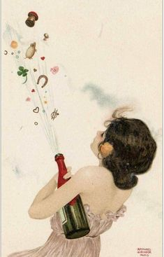 New Year vintage postcard with Champagne wishes