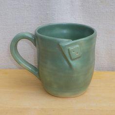 Button coffee mug  hand thrown stoneware https://folksy.com/items/3200082