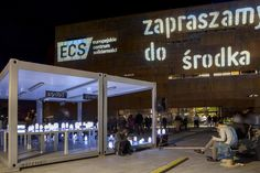 ECS' opening 2014 / event arrangement / Music & relax space by night with lots of lanterns made of plastic jars / fot. szajewski.com