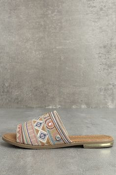 Beach bonfires are even better with the Kamala Beige Embroidered Slide Sandals! Embroidery covers the wide, vegan suede toe band on these easy-to-wear slides. Boho Sandals, Slide Sandals, Toe Band, Beach Bonfire, Beige Style, Cute Shoes, Vegan Leather, Sandal Heels, Teal