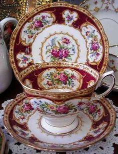 Royal Albert 'Lady Hamilton' China Tea Cup Trio!