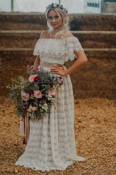 Burgundy, Blush and Sage Wedding Inspiration at Patrick's Barn, Sussex with boho bride in a lace wedding dress and oversized bridal bouquet with ribbons. Gypsy Wedding, Sage Wedding, Boho Wedding Hair, Forest Wedding, Floral Wedding, Wedding Dresses, Wedding Converse, Bridal Table, Warehouse Wedding