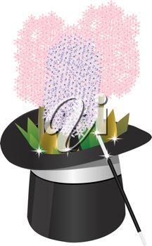 iCLIPART - Clip Art Illustration of a magic hat with hyacinth flowers and wand