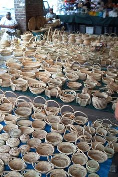 Gullah women with Sweetgrass Baskets in the Market