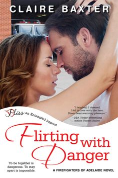 """Flirting With Danger by Claire Baxter  Firefighter Jasmine Mackinnon has always just been one of the guys. So no one's more shocked than she is to find herself kissing fellow firefighter and all-around sinfully handsome playboy Aaron Parkes after a friend's wedding. When their casual flirtation builds into a steamy affair, both will have to """"man up"""" to get what they truly want."""