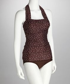 Take a look at this Divinita Sole Cocoa Brown Swirl Halter Tankini Top by Divinita Sole on #zulily today!