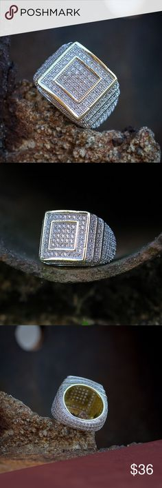 Hip Hop Iced Out Square Gold Ring Hip Hop Iced Out Square Gold Ring  Kemp Street 14k gold & Rhodium Ring   14k gold & rhodium plating.  Sizes available are 6,7,8,9,10,11 & 12 Tsv Jewelers Accessories Jewelry
