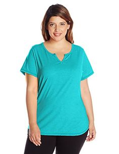 Just My Size Women's Plus-Size Short Sleeve X-Temp Splitneck Tee, Voyage Teal Heather, 2X - JMS short sleeve x-temp split neck tee  - http://ehowsuperstore.com/bestbrandsales/clothing/just-my-size-womens-plus-size-short-sleeve-x-temp-splitneck-tee-voyage-teal-heather-2x