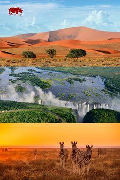 Reisen Sie in die älteste Wüste der Welt, zu den atemberaubenen Victoria-Wasserfällen oder erleben Sie einzigartige Safaris in Afrika!