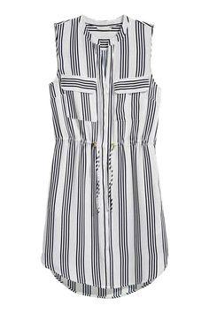 Sukienka bez rękawów - Biały/Ciemnoniebieskie paski - ONA   H&M PL 1