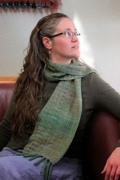 Schacht Spindle Blog: Sashiko. Using a basic running stitch to add texture and visual interest. Scarf woven on 8-dent reed rhl