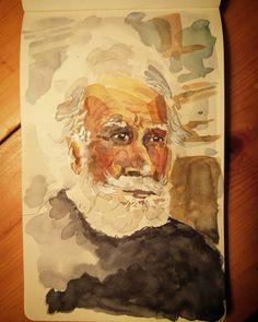 #watercolor #sketchbook #sketch #old #oldman #whitehair #bluesweater #beard #musing Watercolor Sketchbook, Old Men, White Hair, Blue Sweaters, Tao, Singing, Drawings, Instagram Posts, Sketches