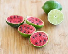 Watermelon Sorbet in Lime Shells cute for the kids