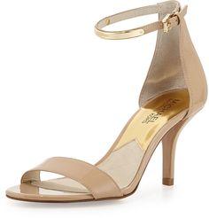 MICHAEL Michael Kors Kristen Mid-Heel Patent Sandal, Nude