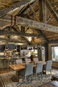 Mediterranean Home Interior Big Wood Timber Frames Gull Lake Retreat Timber Frame Homes, Timber House, Timber Frames, Log Cabin Homes, Cottage Homes, Log Cabin Living, Cabins, Cabin Interiors, Rustic Interiors