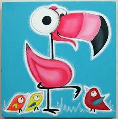 12 x 12 met 1/2  Schattig flamingo omgeven door vogeltjes op zoek naar hem. Geweldig
