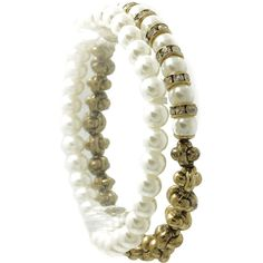 2 Pc Pearl Stretch Metallic Bead Pave Crystal Stone 2 1 8 Inch Diameter 1 3 Inch Tall Nickel And Lead Compliant