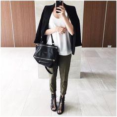 green drapey pants + white top + black blazer