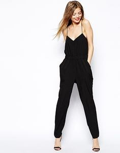 Jumpsuit from ASOS with thin, cross-back straps.