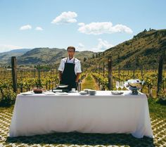 The stuff Okanagan dreams are made of. Chef @chrisvanhooydonk paired his #backyardfarm food not so far from his backyard table down the golden road on the #goldenmilebench at @culminawinery. Its Ok Spring Wine Fest people! Check the schedule for a chance spot open at a beautiful event like this @okwinefests