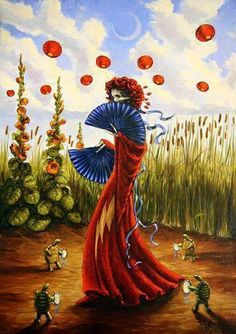 Lady with a fan Grateful Dead Image, Grateful Dead Poster, Dead And Company, Forever Grateful, Psychedelic Art, Trippy, Cool Bands, Just For You, Drawings