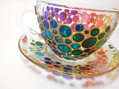 Set of 2 Tea Cups and Saucers, Sun catcher cups and saucers set, Hand Painted Multi Coloured Bubbles Glass Teacup Set This is a bright glass tea set of