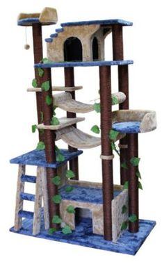 Amazon.com: Kitty Mansions Amazon Cat Tree, Blue/Beige: Pet Supplies