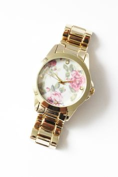 Gold Toned French Rose Metal Watch | #USTrendy  www.ustrendy.com