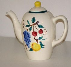 Scarce Stangl Pottery Trenton NJ Coffee Pot Fruit Pattern Grapes Cherries Peaches/rubylane.com