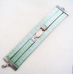 Купить Кожаный Браслет Нежно-зеленый цвет - мятный, браслет из кожи, кожаный браслет
