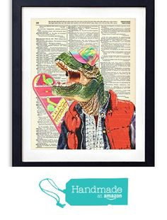"""Rex McFly"" Back To The Future Dinosaur Upcycled Vintage Dictionary Art Print 8x10 from Vintage Book Art Co. https://www.amazon.com/dp/B016VORUOC/ref=hnd_sw_r_pi_dp_LNLDzb2A6PXJ1 #handmadeatamazon"