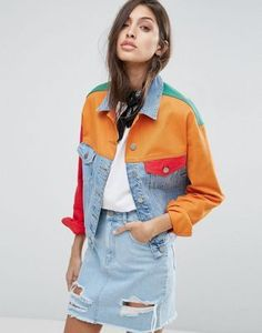 ASOS Denim Jacket in Color Block