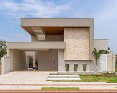 Modern Exterior House Designs, Unique House Design, Dream House Exterior, Modern Design, Villa Design, Wall Tiles Design, Facade House, House Front, House Colors