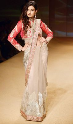 Ashima & Leena Jashn Collection Beige Embroidered #Saree With Red Jacket At BMW IBF 2014.